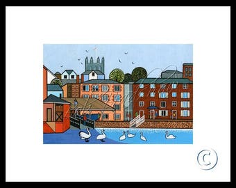 Exeter Quay, Mounted Giclee Print