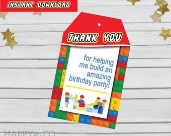 DIGITAL Instant Download Lego Gift Tags, Lego Party Gift Tags, Lego Thank You Tags, Lego Party Thank You Tags