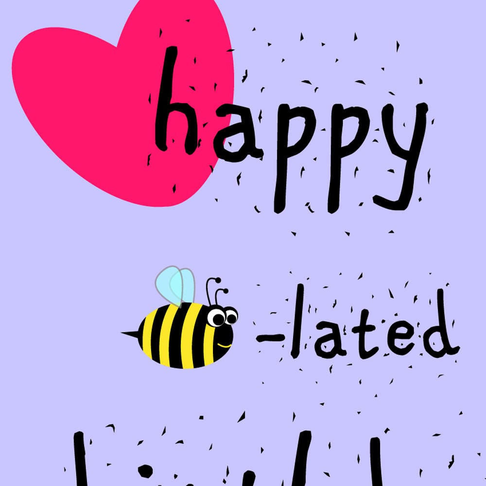 Happy belated birthday greeting card instant download bee happy belated birthday greeting card instant download bee geometric print birthday kristyandbryce Image collections