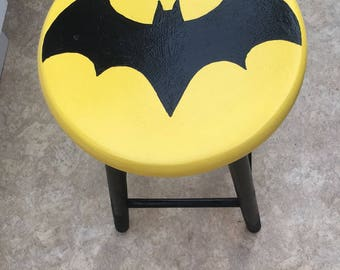 Upcycled stool 'Batman' style