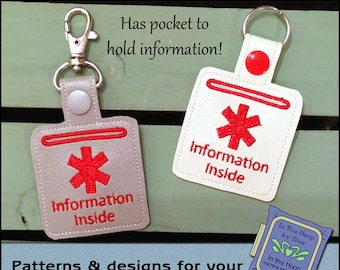ITH Medical Alert Vinyl Key Fob - Medical Alert Bag Tag - Keychain with Snap Tab - Machine Embroidery Design