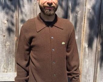 Vintage IZOD Lacoste large brown cardigan