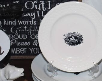Hand Crafted transferware - Farmhouse style Dessert plate - Nest