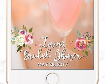 custom snapchat filter / bridal shower snap chat geofilter / personalized / florals / calligraphy SGF-16
