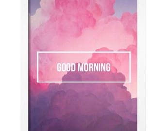 Good morning unicorn colour cloud print