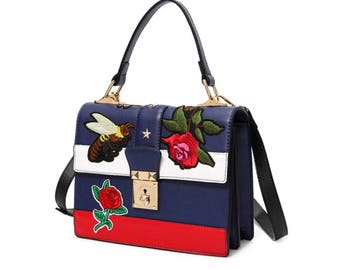 Bag means Pu cross body leather embroidery
