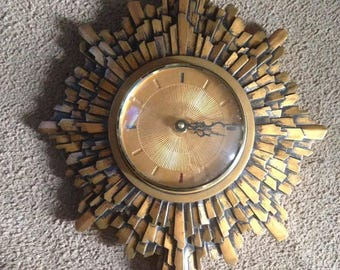 1970's MCM Brutalist designed starburst clock!