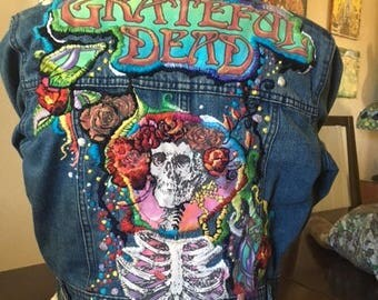 Grateful Dead Inspired Hand Embroidered Denim Jacket by Bay Area Artist (that's me)