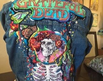 Grateful Dead Inspired Hand Embroidered Denim Jacket