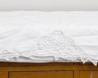 French Vintage Embroidered White Tablecloth