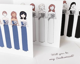 Bridesmaid cards, Custom bridesmaid invitation, Choose Will you be my bridesmaid or Thank you for being my bridesmaid