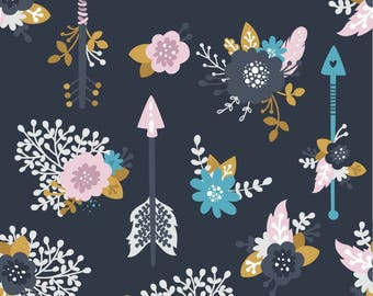 Arrow Blooms Floral 100% Woven Cotton Fabric - Pre-order