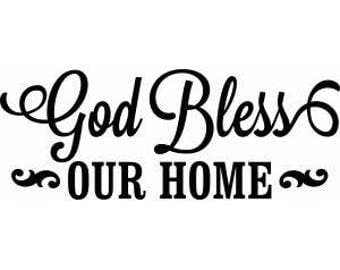 "12""x12"" Vinyl Wall Decal - God Bless Our Home"
