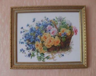 "cross stitch, вышивка ""Roses and cornflowers"""