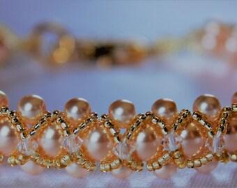 Braided Pearl and Swarovski Crystal Bracelet