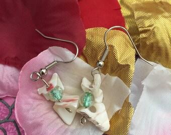 Beaded Shell Drop Earrings