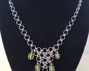 Chainmaille Stainless Steel and Glass Bead Necklace