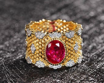 Royal stylist gold plated silver lab ruby ring