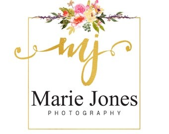 Premade gold foil logo design, photography logo, watercolor logo, floral logo design, watercolor flower, branding template, handwritten logo