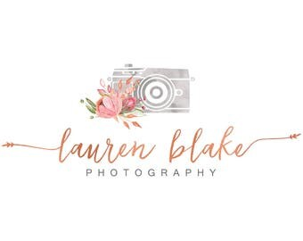 Watercolor logo design, photography logo, rose gold foil logo, floral logo design, watercolor flowers, branding template, photo camera