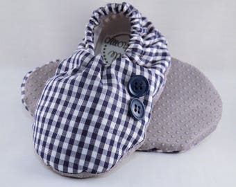 """6"""" Soft-Soled Baby Shoes - Blue Gingham with Buttons - Adjustable Ankles - Non-Slip Soles"""