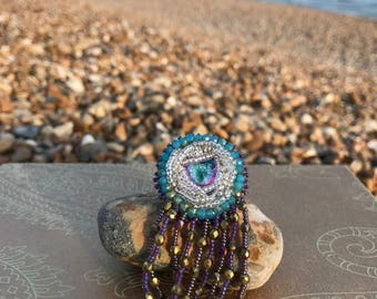 The Mermaids Tail - bead embroidered brooch