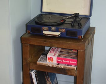 Industrial Style Vinyl Record Storage Mid Century Furniture Side Table, Solid Wood