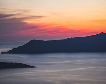 Ethereal Greece Sunset on Santorini Fine Art Giclee Print, Fira