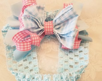 Pink and blue plaid bow