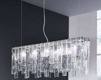 Suspended glass chandelier
