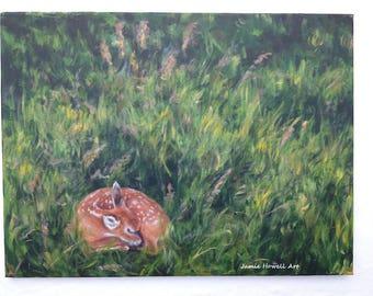 Deer painting, Fawn painting, Wildlife Fine Art, Original Art, Sleeping Fawn