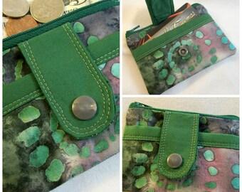 Green batik zip wallet