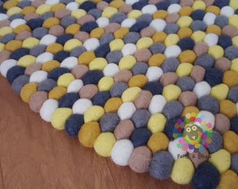 Felt Ball Rugs 20 cm - 250 cm Yellow and Grey (Free Shipping)
