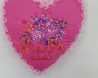 Pretty Heart Shaped Cushion Wall Hanging