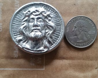 Hand poured Jesus magnet pewter (Can be personalized)