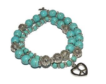 December Birthstone Mala Bracelet - Howlite Turquoise Stretch Bracelet