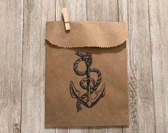 Anchor Brown Paper Bag with Clip-Party Favors-Birthday Weddings-Gifts