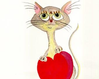 Singapura Cat with Red Heart