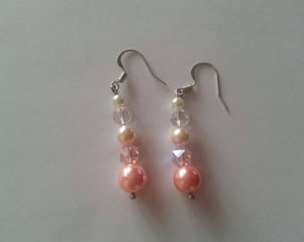 Pearl and Crystal Ombre Graduated Drop Earrings