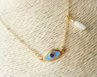 Evil eye necklace, Tassel necklace, Gold ball chain necklace, Greek evil eye, Tiny tassel, Made in Greece
