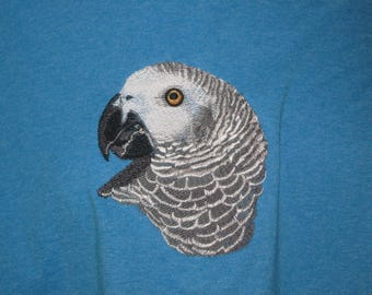 New African Grey Parrot Head Embroidered T-shirt