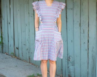 50s Ruffled Apron Dress- Mint Condition Extra Small XS S