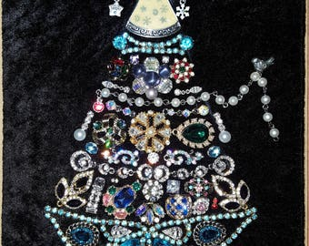 Handmade jewelry art Christmas tree; vintage-modern jewelry rhinestones crystals one-of-a-kind gift