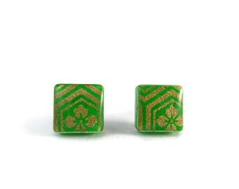 Green Earrings, Gold flower earrings, Japanese paper earrings, Paper earrings, Square studs,Green stud earrings, Shiny earrings, geometric