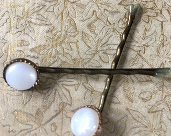 Vintage button hair pins
