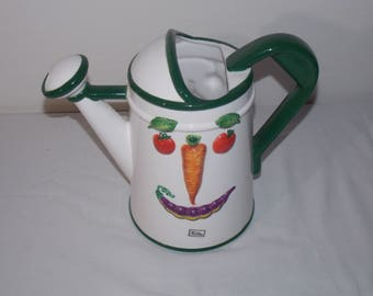 Vegetable Face  Dept 56 Garden Watering Can Pitcher