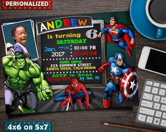 Avengers Invitation- Avengers Birthday Invitation- Avengers Invite- Superhero Invitation- Superhero Invite- Superhero Avengers Invitation