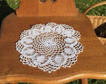 Handmade round white doily