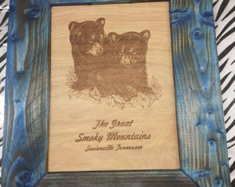 Laser Engraved Bear Cubs with Handmade Rustic Frame
