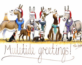 Humorous Donkey Christmas Greeting Card - Muletide greetings!